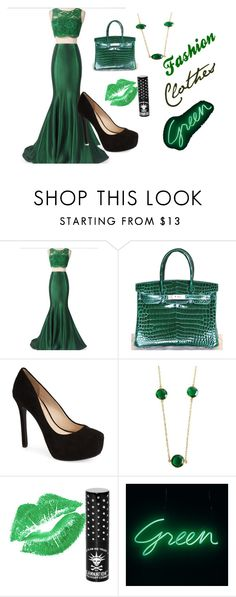 """""""Green"""" by ellie157 ❤ liked on Polyvore featuring Hermès, Jessica Simpson, Vanhi, Manic Panic, women's clothing, women's fashion, women, female, woman and misses"""