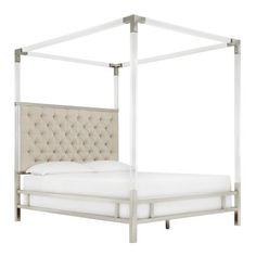 Queen Faye Acrylic and Chrome Canopy Bed with Tufted Headboard Oatmeal Brown - Inspire Q, Beige Queen Canopy Bed, Canopy Beds, Smart Bed, Upholstered Platform Bed, Under Bed, Panel Bed, Cool Beds, Mattress, Inspire