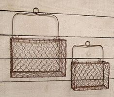 Set of 2 Rusty Chicken Wire Wall Baskets. Chicken Wire Wall Baskets come in a set of The larger is high by wide by deep with a handle. The smaller size is high by wide by deep and has a handle. Wire Basket Shelves, Wire Wall Basket, Hanging Wire Basket, Wire Baskets, Baskets On Wall, Storage Baskets, Plant Shelves, Chicken Wire Crafts, Chicken Wire Art