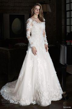 intuzuri 2014 wedding dresses bijou long illusion sleeve gown