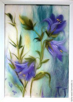 Купить или заказать Колокольчики мои, цветики степные... в интернет-магазине на Ярмарке Мастеров. Картина в технике 'шерстяная акварель' 'Колокольчики мои...' выложена шерстью под стекло. Авторская работа.. Гармонично впишется в Ваш интерьер и создаст теплое настроение. Если вы хотите подарить необычный подарок-выбирайте шерстяную акварель! Точное копирование невозможно, каждая картина индивидуальна и не является повтором предыдущей. Все вопросы цены работы, доставки и ее цены решаем в…