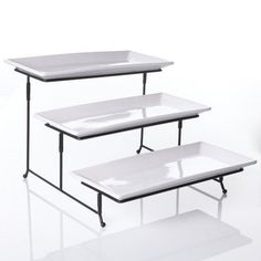Three tier server with chrome rack is a dramatic piece that will add flair to your dining table. It is perfct for appetizers, desserts and fruit.  - http://kitchen-dining.bestselleroutlet.net/product-review-for-chefland-3-tier-rectangular-serving-platter-three-tiered-cake-tray-dessert-stand-food-server-display-plate-rack-white/