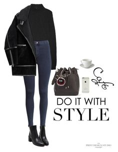 """""""New York City girl"""" by djulia-tarasova ❤ liked on Polyvore featuring Proenza Schouler, Rick Owens, H&M and WALL"""