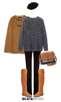 """""""Black Denim"""" by polylana ❤ liked on Polyvore featuring Zara, 7 For All Mankind, Toast, Charles by Charles David, FOSSIL, Wanderlust + Co, Jules Smith, Accessorize, women's clothing and women's fashion"""