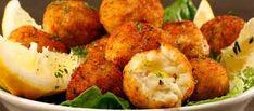 Fried cod fish balls are a different kind of appetizer. a mixture of cod, potato. Fried cod fish b Cuban Recipes, Greek Recipes, Fish Recipes, Seafood Recipes, Cooking Recipes, Healthy Recipes, Fish Dishes, Seafood Dishes, Fish And Seafood