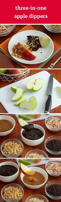 Three-In-One Apple Dippers – From melted chocolate, gooey caramel, marshmallow creme, raspberry jam, and an assortment of toppings, there are so many delicious ways to enjoy this fun dessert recipe!