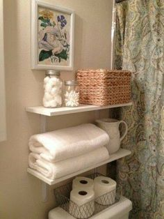 decorating ideas small bathroom - I like the shelves above toilet with towels, c. - most beautiful shelves - bathroom beautiful decorating Ideas Shelves Small toilet towels 729160995900652940 Shelves Over Toilet, Bathroom Wall Shelves, Small Bathroom Storage, Bathroom Cabinets, Sink Shelf, Shelf Wall, Bathroom Organization, Regal Bad, Ideas Baños
