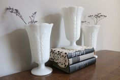Milk Glass Large Vase Collection, EO Brody,  Wedding, Garden Party, Cottage Chic. $45.00, via Etsy.
