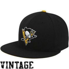 Mitchell  amp  Ness Pittsburgh Penguins Vintage Fitted Hat 7 5 8 by  Mitchell  amp d922ec5a230