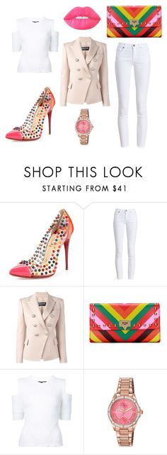 """""""Pastel loves bold"""" by aleks-stanisavljevic on Polyvore featuring Christian Louboutin, Barbour, Balmain, Citizen and Lime Crime"""