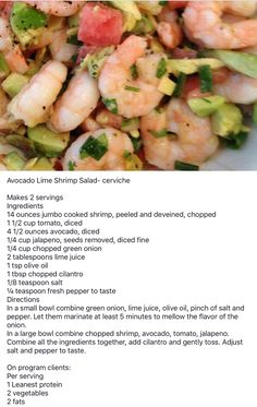Lean and green - avocado lime shrimp salad green shrimp recipe, shrimp recipes, low Medifast Recipes, Ww Recipes, Seafood Recipes, Cooking Recipes, Healthy Recipes, Lean Recipes, Healthy Foods, Salad Recipes, Healthy Life