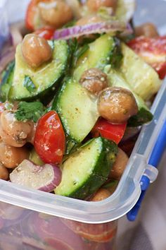 Chickpea and Fresh Vegetable Salad Serves 6 A really good choice for vegetarians. Best to fry the chickpeas in a large frypan or in . Fresh Vegetable Salad Recipes, Fresh Vegetables, Healthy Family Meals, Healthy Snacks, Healthy Eating, Clean Recipes, Healthy Choices, Vegetarian, Favorite Recipes