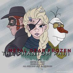 Metal Gear Frozen: The Phantom Pain by iTerak on DeviantArt Metal Gear Solid, Cartoon Memes, Legend Of Zelda, Best Games, Gears, Frozen, Geek Stuff, Fandoms, Fan Art