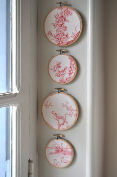 Vintage French Toile de Jouy Set of 4 Red and Ivory by tialys, $40.00