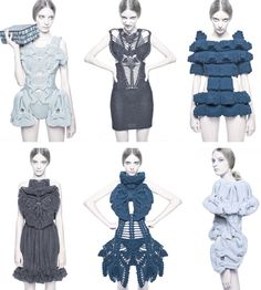 Sculptural Knitwear - wearable art; inspiring knitted dresses with amazing shape, pattern and texture details // sandra backlund