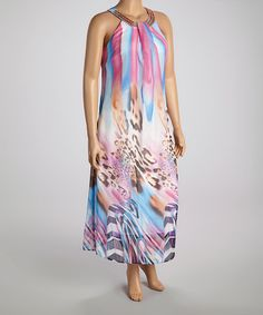Look what I found on Pink & Blue Beaded Yoke Maxi Dress - Women Vacation Outfits, Color Patterns, Soft Fabrics, Tie Dye Skirt, Pink Blue, Fancy, Gowns, Summer Dresses, Skirts
