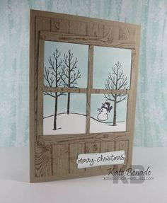 Adding a cross to create window panes will turn any outdoor scene into a beautiful vista. The woodgrain stamp used here creates the illusion of a warm log cabin with a wintry snowman view. Handmade Christmas card.