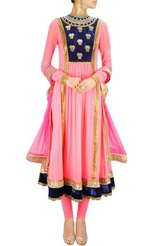 Neon pink and blue floral embroidered anarkali set - Yashodhara