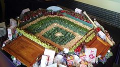 Baseball diamond fruit and veggie tray