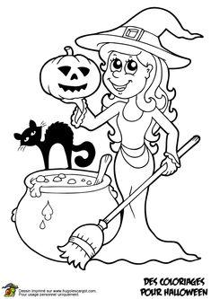 Coloriage de la gentille sorcière avec ses copains