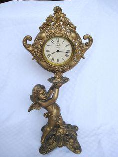 ANTIQUE PAT 1898 GILBERT WIND MANTEL SHELF CLOCK GILT METAL CHERUB 19 IN. TALL