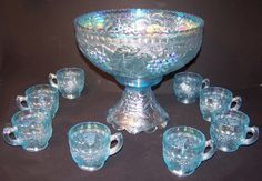 Imperial Grape Lenox Lig Horizon Ice Blue Carnival Glass Punch Bowl Set RARE | eBay