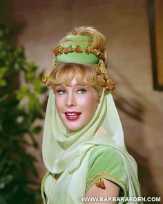 "Barbara Eden Publicity photo for ""I Dream of Jeannie"" (NBC, September 1965 - May Writer Sidney Sheldon. Barbara Eden, Sidney Sheldon, I Dream Of Jeannie, Divas, Larry Hagman, Green Costumes, Elizabeth Montgomery, Old Shows, Cinema"