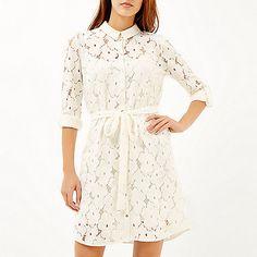 Cream lace shirt dress - shirt dresses - dresses - women