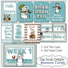 January Snowmen Pocket Cards 3x4 & 4x6 Week Cards Project Life Style Blue Green Printable Digital Scrapbooking, Instant Download