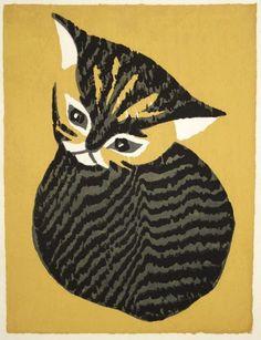 Black Cat at Night - woodblock print - Kodo Shoda (1871-1946, Japan)