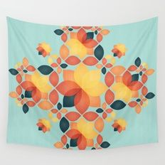 Orange Garden Pattern Wall Tapestry