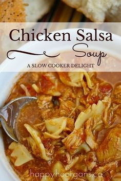 Served with a crusty loaf, this slow cooker chicken salsa soup is the perfect hearty dinner at the end of a winter day spent at the rink or on the slopes.