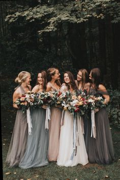 Moody bridesmaid photos with grey, blush and blue mismatched dresses. - Moody bridesmaid photos with grey, blush and blue mismatched dresses. Moody bridesmaid photos with grey, blush and blue mismatched dresses. Burgundy Bridesmaid Dresses Long, Champagne Bridesmaid Dresses, Bridesmaid Dress Styles, Wedding Bridesmaids, Dress Wedding, Vintage Bridesmaid Dresses, Wedding Ceremony, Bridesmaids With Different Dresses, Bridesmaid Pictures