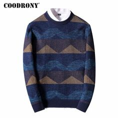 Merino Wool Sweater Men New Thick Warm Knitted Cashmere Pullover Men Fashion Striped O-Neck Pull Home