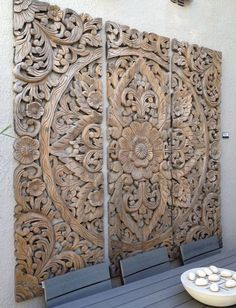 Best Woodworking Projects Beautiful Wooden Kitchen Table Project Should you want to learn about woodworking skills, try out w Wood Panel Walls, Wood Paneling, Paneling Painted, Wall Wood, Bali Decor, Balinese Decor, Indonesian Decor, Wooden Kitchen, Centre Pieces