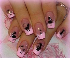 Frisky Feline french manicure >^• •^<
