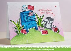 Lawn Fawn | Medium: ZIG CC MARKERS | MAILBOX: 038, 031 SKUNK: 900, 095, 028 PINK LETTERS: 230, 028 RED LETTERS: 021, 022 BIRD: 036, 302, 028, 070 SNAIL: 202, 028, 095, 021, 022 GRASS: 047, 053 [on LF, Zig CC, & NMagourik]