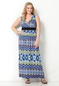 Avenue Plus Size Blurred Ikat Maxi Dress