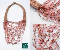 Crocheted textile necklace with a décolleté filled up by richly decorated pearls and beads.  Featherlight summer wear.  www.vargareka.com