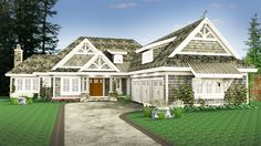 A shingled exterior, gables with attractive brackets and two shed dormers combine to give this 3 bed house plan great curb appeal.The foyer reveals an open floor plan ahead with the vaulted great room open to the combined kitchen and dining space.The kitchen has a large walk-in pantry and a super-sized island with sink, workspace and seating on two sides.When it comes to dining, you can eat inside or out with the vaulted porch with fireplace accessible from the dining room.The master suite…
