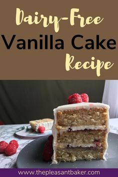 This cake is so good you wouldn't even know it is dairy-free! Follow along to this beginner cake recipe!  #thepleasantbaker #dairy-freecake #dairy-free #allergenfriendly #cakerecipe Dairy Free Vanilla Cake, Dairy Free Buttercream, Buttercream Recipe, Delicious Cake Recipes, Yummy Cakes, Dessert Recipes, Desserts, Rectangle Cake, Postres