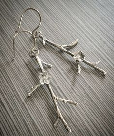 Oxidized Sterling Silver Branch Earrings by MistyMountainForge