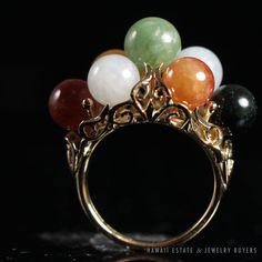 MING'S HAWAII MULTI-COLOR JADE BALL CLUSTER RING STAMPED 14K YELLOW GOLD (SZ 5)…