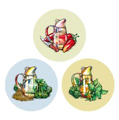 Illustrations for a series of seasonings on Behance