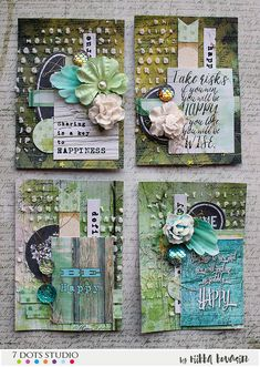 Happiness ATC by Riikka Kovasin for 7 Dots Studio Atc Cards, Card Tags, Paper Cards, Origami, Scrapbook Paper Crafts, Scrapbooking, Art Journal Pages, Journal Cards, Art Trading Cards