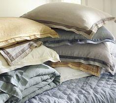 linen with silk trim duvet cover sham via pottery barn. Black Bedroom Furniture Sets. Home Design Ideas