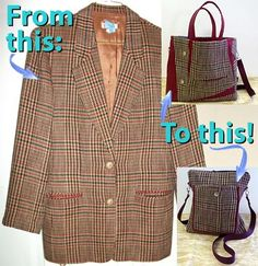 Upcycle a wool jacket into great accessories at Artistic Artifacts!