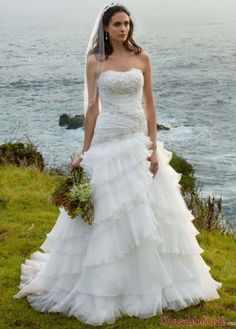Stunning Gorgeous Princess Strapless Beaded Appliques Tiered Organza Chapel Train Affordable Wedding Dresses Under $200
