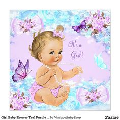 Girl Baby Shower Teal Purple Butterfly Blonde Invitation