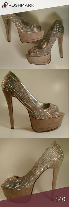 TAUPE IRIDESCENT RHINESTONE PUMPS Faux suede material. Iridescent rhinestone detail. Approximately 5 1/2 inch heel. Fits true to size. Shoes Heels